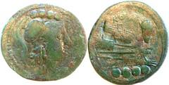 97/18 Luceria L Triens. Second phase. oooo / Minerva / L; ROMA / Prow / oooo. RBW, Triens 9g53