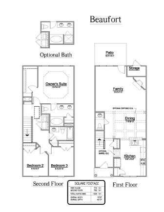 Live oak homes granite ridge townhomes beaufort floor for Granite ridge floor plans