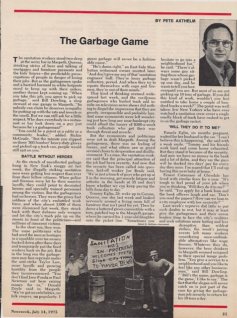 07/14/75 Newsweek Magazine - The Garbage Game (1/1)