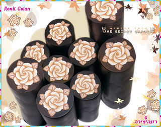 Gold, Brown & Black Millefioru Rose Cane