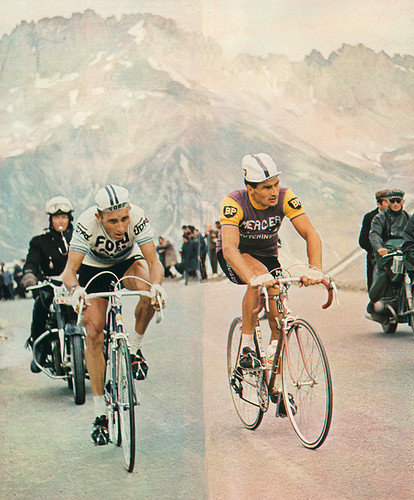 Raymond Poulidor and Jacques Anquetil (see question 6) in the Alps, 1966 Tour de France. Photo: Chris Protopapas