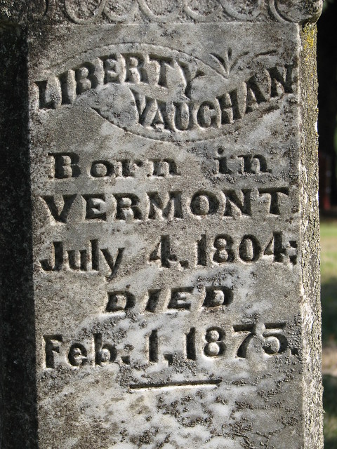 Gravestone inscription of my gt gt gt grandfather Liberty Vaughan