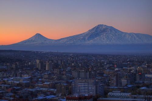 city skyline sunrise canon eos 50mm cityscape snowcapped mount armenia yerevan hdr ararat 500d հայաստան երեւան արարատ երեվան t1i լեռ արեւածագ