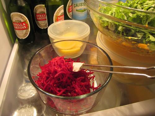 raw beets, shredded, green salad, stella ar… IMG_1903