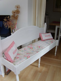 RE-CYCLED BED HEAD TO A BAKEWELL BENCH