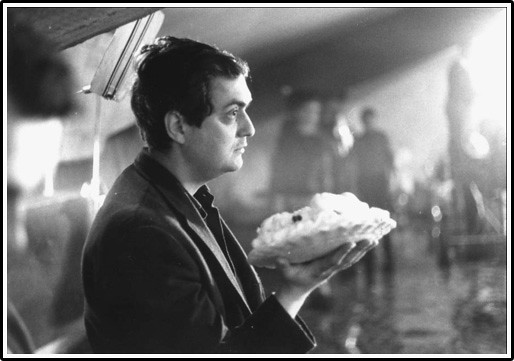 Stanley Kubrick preparing for the infamous pie fight on the set of DR. STRANGELOVE (1964)