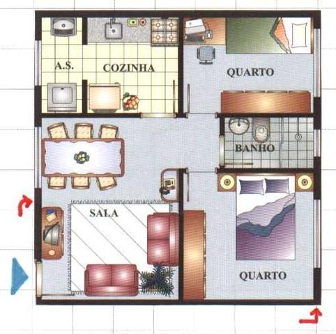 Plantas de casas com 2 quartos for Casa moderna 7x7