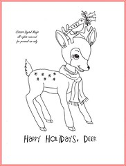 FREE holiday deer embroidery pattern