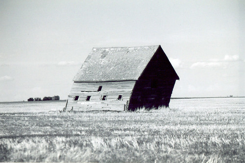 bw white black clouds barn landscape saskatchewan leaning
