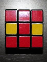 puzzle, rubik's cube, red, mechanical puzzle, toy,