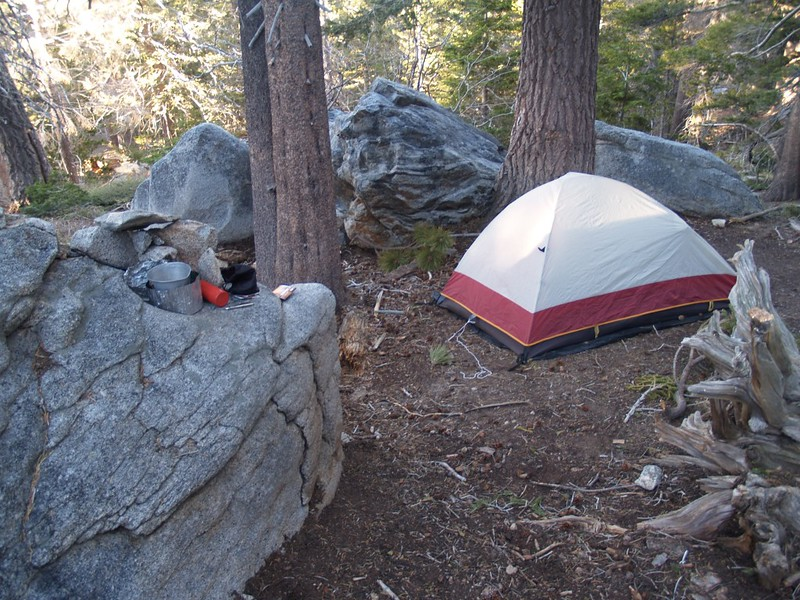 Shielded stove enclosure on the big boulder in the Diorite Campsite in Tamarack Valley.
