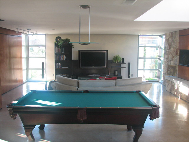 Pool table and tv sitting area w a great sound system for Koi pond pool table