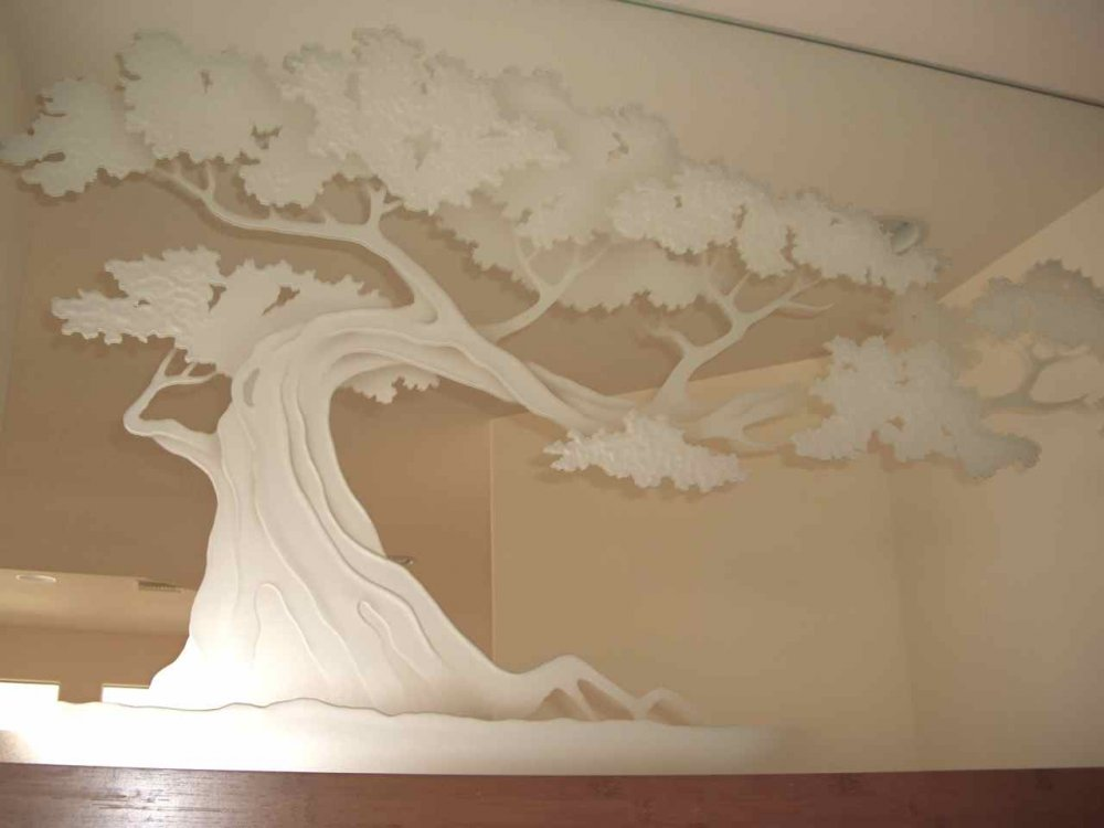 Decorative mirror etched hand carved bonsai tree glass for Architectural glass art