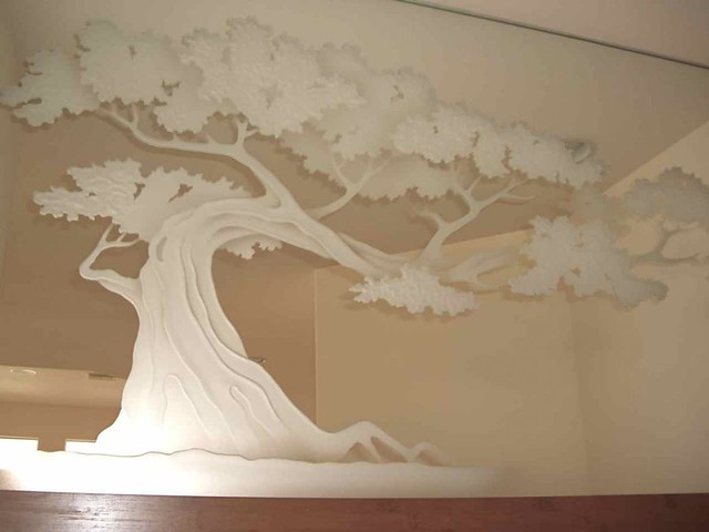 Decorative Mirror Etched Hand Carved Bonsai Tree Glass Wall Art A Photo On