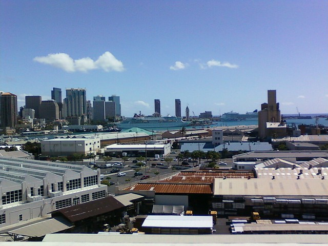 Honolulu Harbor With Two Cruise Ships In Port  Flickr
