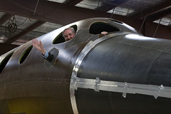Burt Rutan inside the SpaceShipTwo cabin during construction. Scaled Composites, Mojave, CA. Credit Mark Greenberg