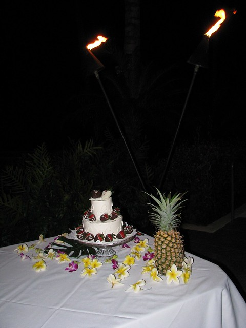 Our wedding cake ordered from Maui Wedding Cakes at the Lower Pond area of