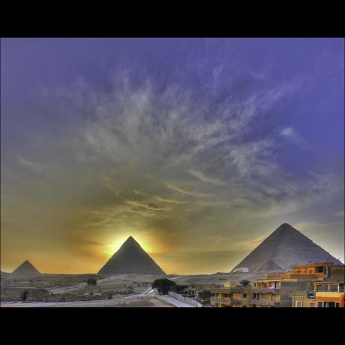 africa city sunset sky sun history clouds geotagged mood pyramid tomb egypt 500 ägypten hdr misr eos40d schulzaktivreisen
