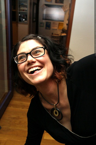 rachel models her sister's new eyeglasses