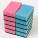 Stacks of blue and pink washing sponges