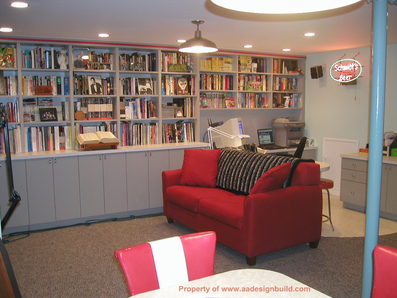 Finished Basement Design Www.aadesignbuild.com, Film Criticu0027s Home Office,  Finished .