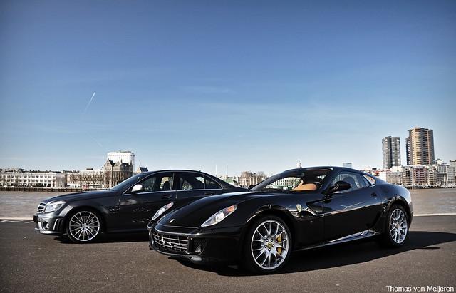 Mercedes C63 AMG and Ferrari 599 GTB Fiorano