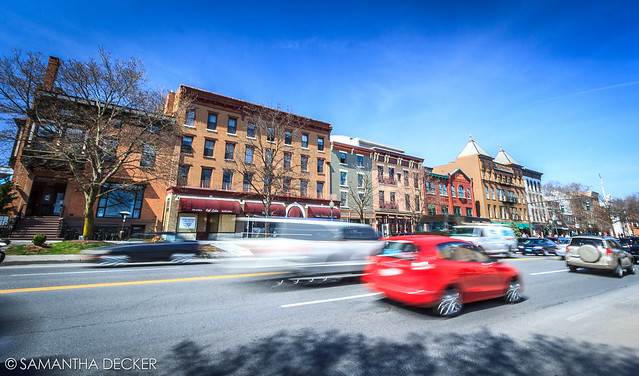 Cars Zooming Down Broadway in Saratoga Springs
