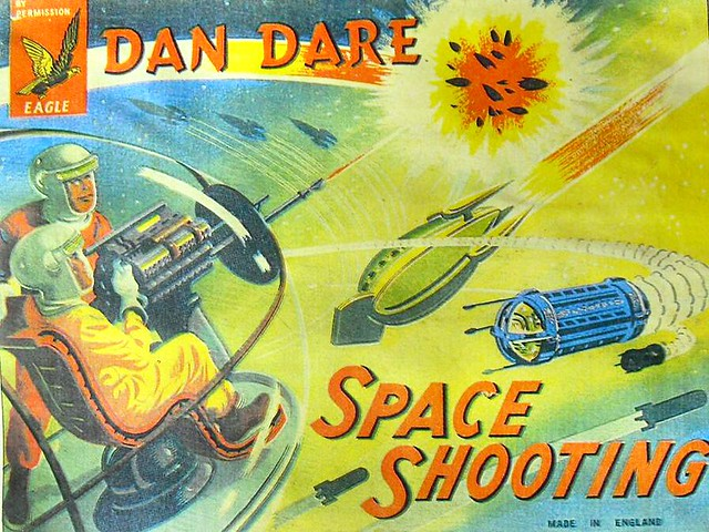 1957 DAN DARE Outer Space 1950s Shooting Game Toy Box Illustration