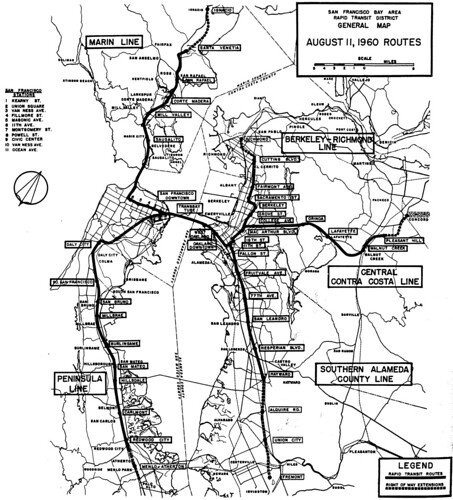 San Francisco Bay Area Rapid Transit District: General Map: August 11, 1960 Routes