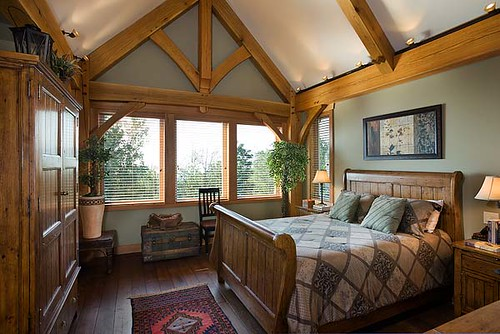 mountain view timber frame home master bedroom