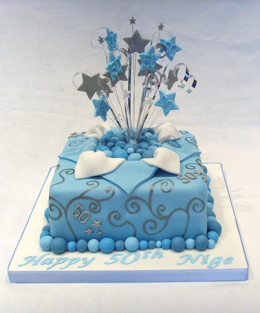 50th Birthday Parcel Star Burst Cake