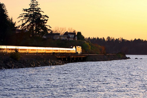 railroad sunset train portland trains amtrak steilacoom railroads amtrakcascades canon50d andersonislandferry