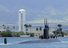 PEARL HARBOR, Hawaii (June 21, 2011) Los Angeles-class submarine USS Columbia (SSN 771) departs Joint Base Pearl Harbor-Hickam Tuesday, June 21, for a regularly scheduled six-month deployment to the Western Pacific region. (U.S. Navy photo by Mass Communication Specialist 2nd Class Ronald Gutridge /Released)