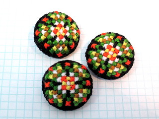 Black Folk Cross Stitch Buttons