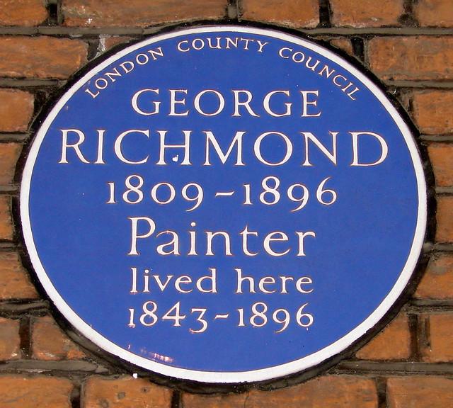 George Richmond blue plaque - George Richmond 1809-1896 painter lived here 1843-1896
