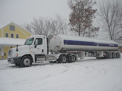 vehicle, transport, trailer truck, snow,