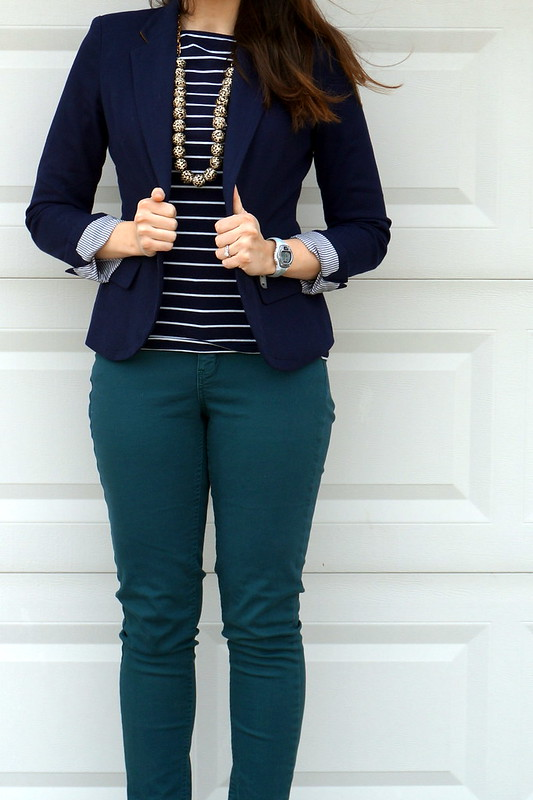 navy blazer and stripes with animal print