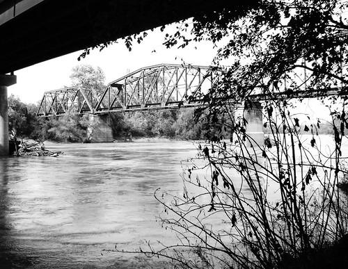 through truss railroad train bridge brazosriver sealy brookshire wallercounty texas interstate10 black white blackandwhite blackwhite bw b w missouri kansas union pacific austin county pontist united states north america