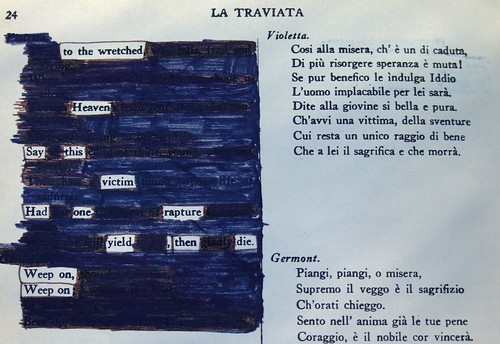 blackout poem, in the style of Austin Kleon; La Traviata, I