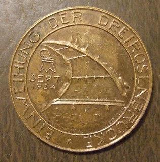 "SWITZERLAND, BASEL 1934 DRIEROSENBRUCKE ""BRIDGE INAUGURATION"" PINBACK MEDALLION, SEPT 1934"