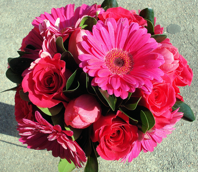 Hot Pink Gerbera Daisy Tulip and Rose Bridal Bouquet
