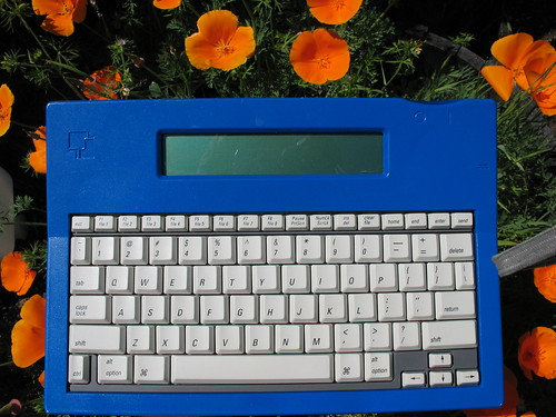AlphaSmart Pro, with poppies and camera strap