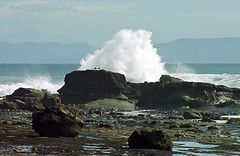 sea, ocean, bay, blowhole, body of water, wind wave, wave, shore, terrain, stack, coast, rock,