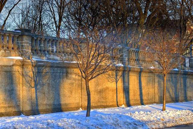 light and shadow patterns on stone wall, evanston 1 4x6