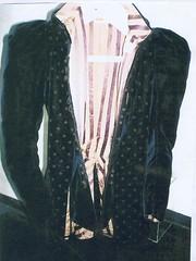 leather(0.0), tuxedo(0.0), sweater(0.0), pattern(1.0), textile(1.0), clothing(1.0), blazer(1.0), outerwear(1.0), jacket(1.0), formal wear(1.0), design(1.0),