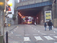 GX04LDD Sussex Police Mercedes E-class blocking off trafalgar street due to a lorry getting stuck under the bridge.