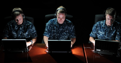 Navy students at the Center for Information Dominance Corry Station, preview a new program