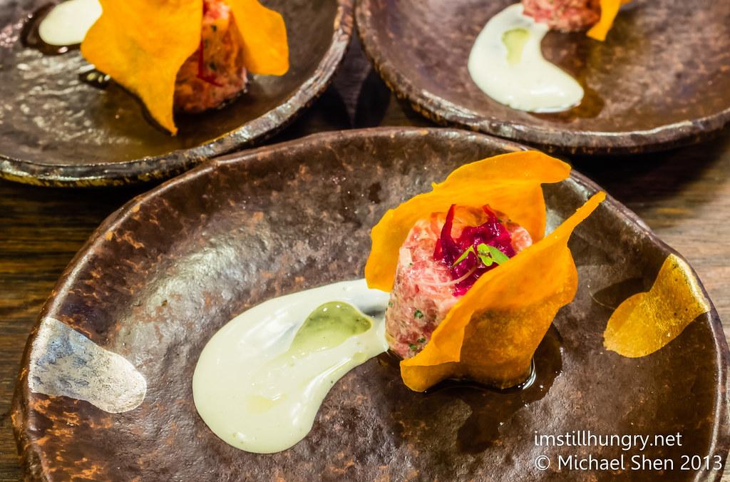 Wagyu tartare: hand diced wagyu beef, fried egg purée & sweet  potato crisp  Sake Restaurant