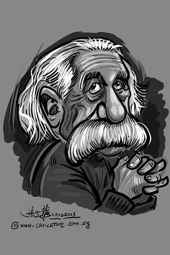 Albert Einstein digital caricature (toned)