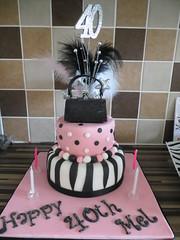 Girly 40th Birthday 2 Tier Handbag Cake